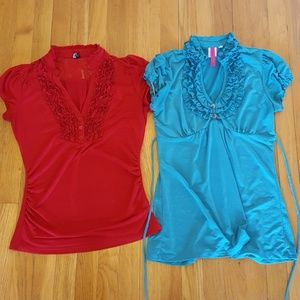 Tops - Bundle of two short sleeve stretchy ruffled tops